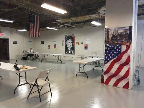 The scene on entering Donald Trump's campaign headquarters.