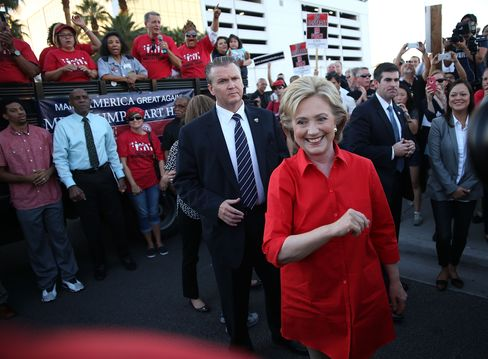 Hillary Clinton arrives to speaks to union members gathered in front of the Trump International Hotel & Tower Las Vegas on Oct. 12, 2015.