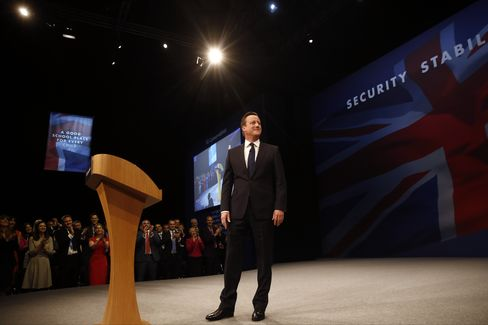 U.K. Prime Minister David Cameron Delivers His Speech On The Closing Day Of The Conservative Party Conference