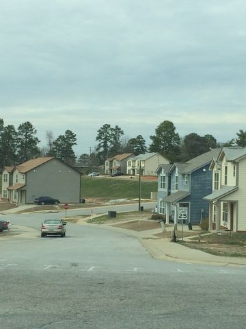 Townhouses at the partially completed housing project.