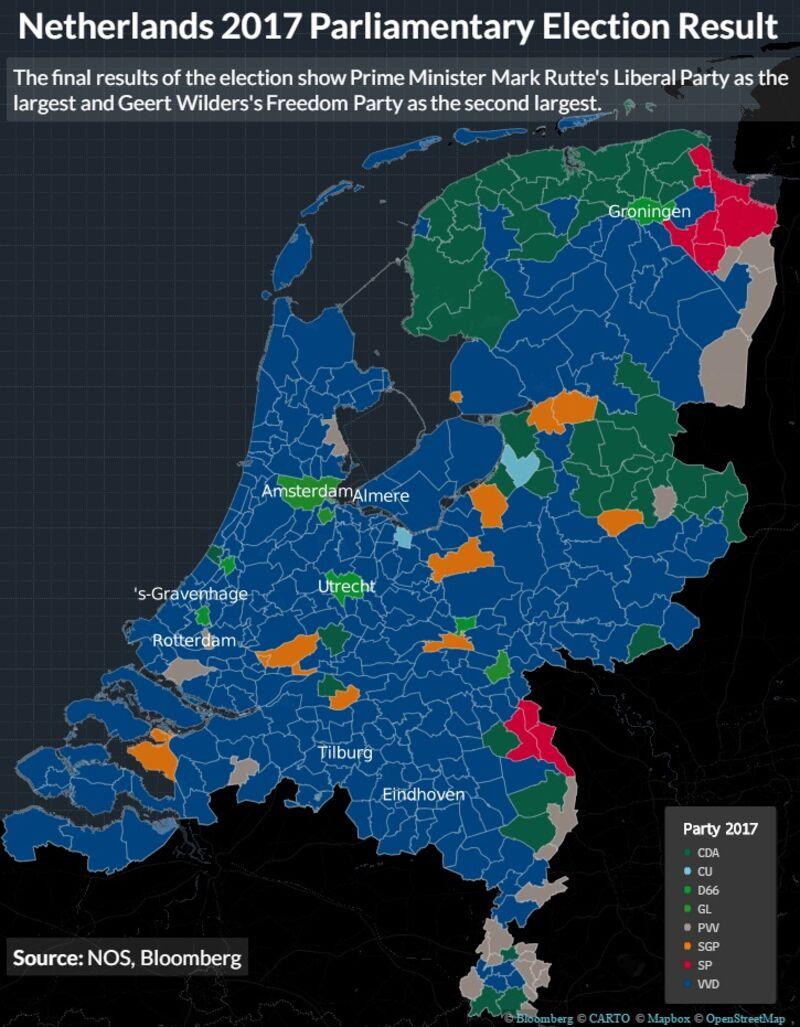 maggioranza relativa collegi elezioni in Olanda del 2017