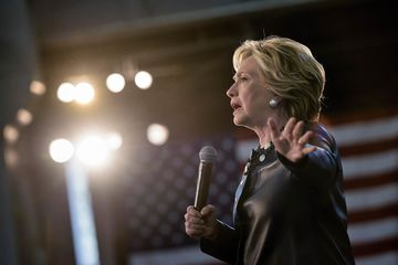 Democratic presidential nominee Hillary Clinton speaks during a Colorado Democratic party rally in the Palace of Agriculture at the state fairgrounds October 12, 2016 in Pueblo, Colorado. / AFP / Brendan Smialowski        (Photo credit should read BRENDAN SMIALOWSKI/AFP/Getty Images)