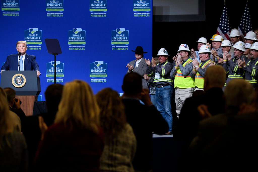 President Donald Trump speaks during the 9th Shale Insight Conference on October 23, 2019, in Pittsburgh, Pennsylvania.