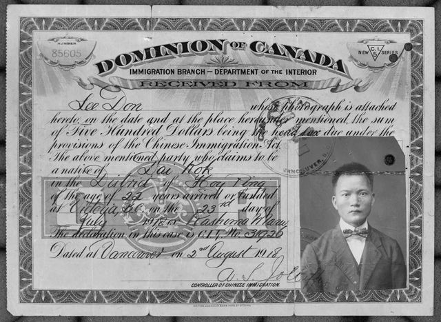 Certificate for Don Lee - Chinese Immigration Act - front. Date on the certificate is August 2, 1918