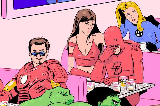 Iron Man, Elektra, and Daredevil