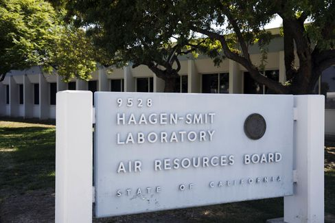 Signage is displayed outside the California Air Resources Board Haagen-Smit Laboratory in El Monte, California, U.S.