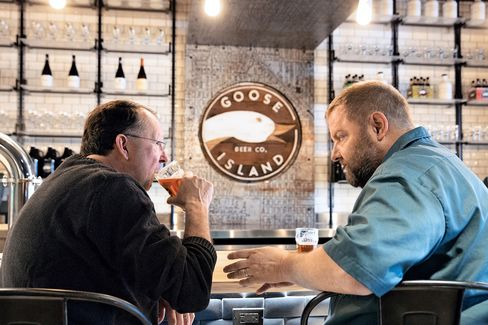 Goeler (left) and Porter at Goose Island's tasting room.