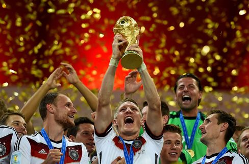 Bastian Schweinsteiger of Germany lifts the World Cup following victory in the 2014 FIFA World Cup Final in Brazil.