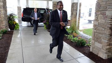 Republican presidential candidate ben carson enters a town-hall event on sept. 30, 2015, in exeter, new hampshire.
