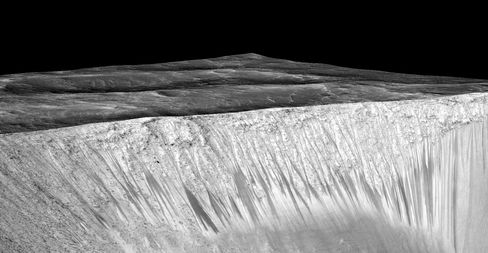 "Dark narrow streaks called ""recurring slope lineae"" line the walls of Garni crater, on Mars. The dark streaks here are up to few hundred meters in length. Researchers believe they may provide evidence of flowing, briny water on the Red Planet."