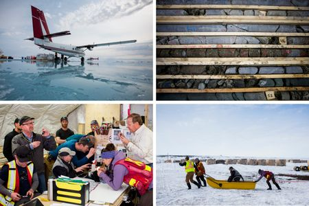 Clockwise, from top left: Workers unload cargo at the Kennady Kelvin Camp; Kimberlite samples; the teamat Kennady's Kelvin Camphelps geologist Tom McCandless move across the tundra;CEO Rory Moore (L), project geologist Martina Bezzola (second from right), CEO of Mountain Province Diamonds Inc. Patrick Evans (R), with Kelvin team look at diamonds discoverednearby.