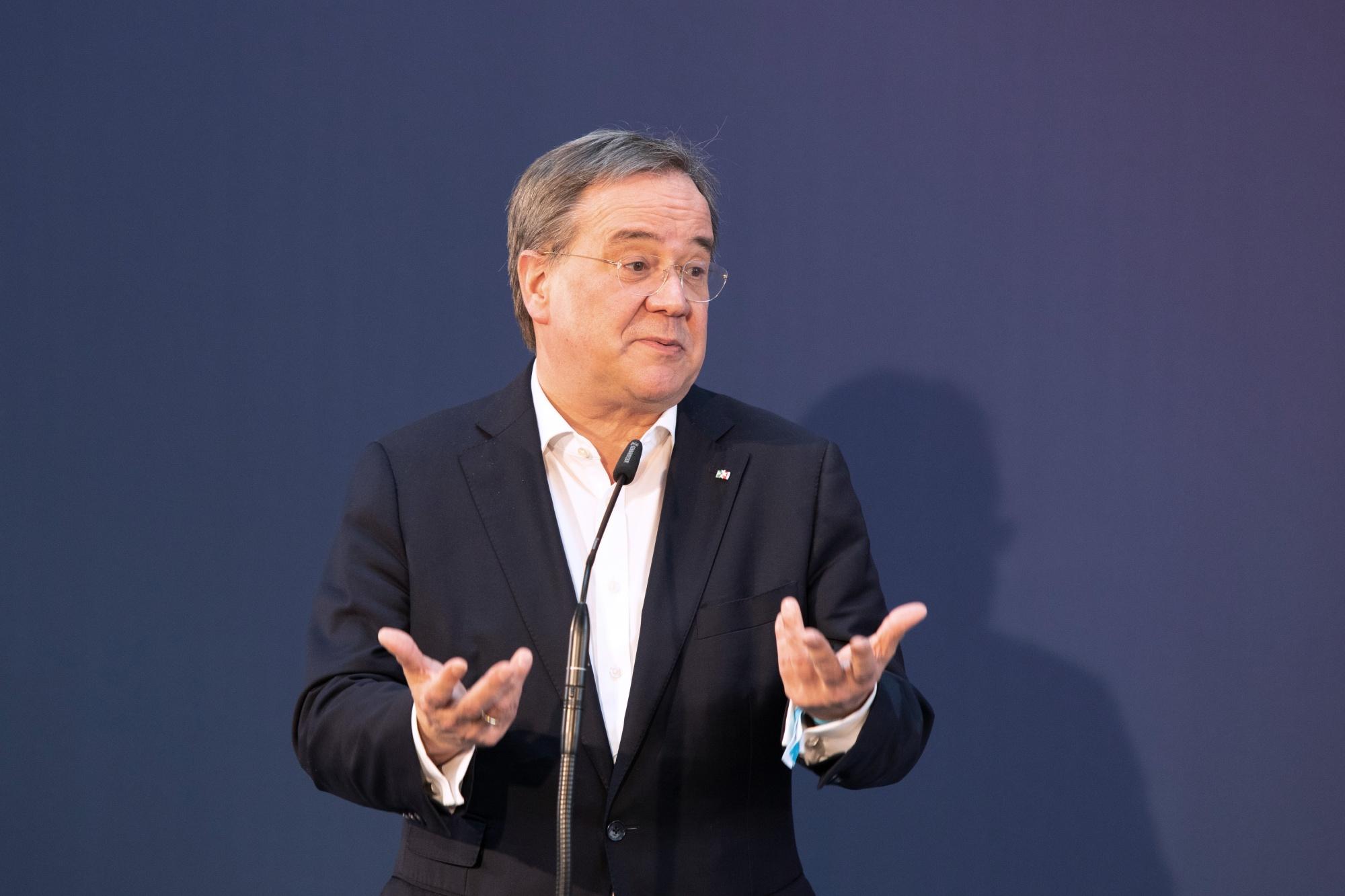 CDU-Leiter Armin Lachet und CSU-Leiter Marcus Soder Pressekonferenz
