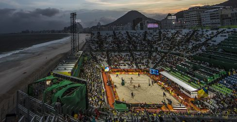 Beach volleyball arena in Rio.