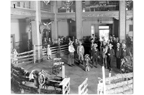 The lobby in the Hilton Hotel in San Angelo when it wasdecorated to resemble a corral for an event circa 1930s