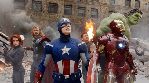 The Avengers (from left): Scarlett Johansson as Black Widow, Chris Hemsworth as Thor, Chris Evans as Captain America, Jeremy Renner as Hawkeye, Robert Downey Jr. as Iron Man, and Mark Ruffalo as the Hulk.