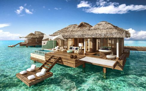 Renderings of the overwater bungalows coming soon to the Sandals Royal Caribbean,in Montego Bay.