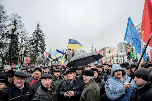 A recent protest organized by miners in front of the parliament in Kiev.