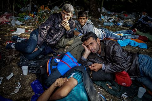 The makeshift migrant camp near the border line between Serbia and Hungary in Roszke, Hungary, on Sept. 12, 2015.