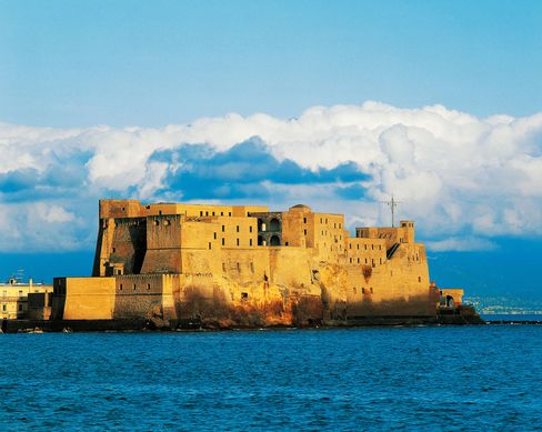 Castel dell'Ovo (Egg castle), a  14th century to 16th century edifice in Naples, serves as one third of the Vinciguerra Island fortress.