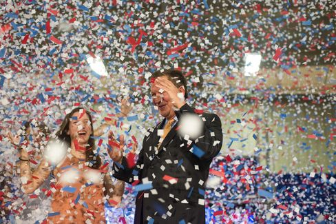 Kasich celebrating in Berea, Ohio on March 15.