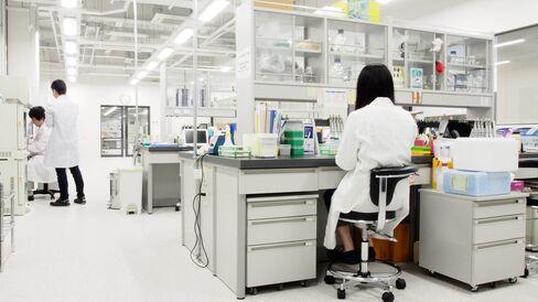 Lab technicians at Spiber's laboratory in Tsuruoka, Yamagata Prefecture.