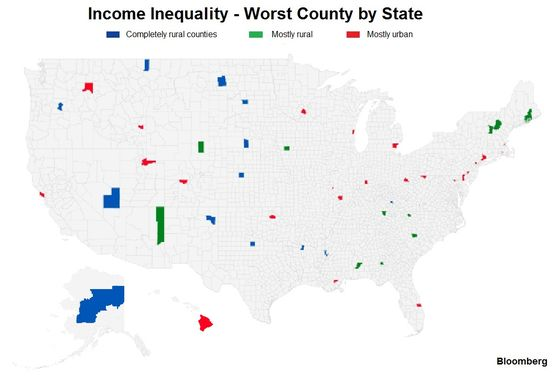 From Georgia to Delaware: U.S. County Level Income Inequality