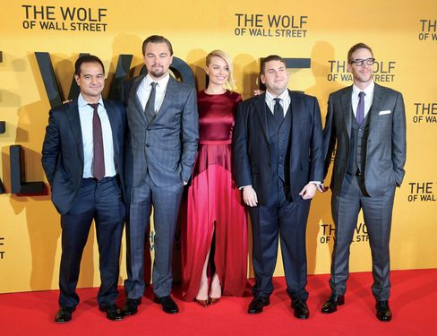 Najib's stepson, Riza Aziz, far left, joins Leonardo DiCaprio and others at the London premiere of The Wolf of Wall Street on Jan. 9, 2014.