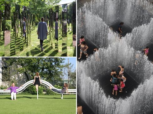 (Clockwise from top left) Jeppe Hein, Semicircular Mirror Labyrinth II, 2013; Jeppe Hein, Appearing Rooms, 2004; eppe Hein, Long Modified Bench Oppenheim, 2008