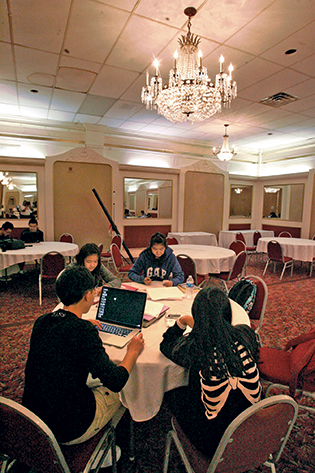The hotel's ballroom is now a study hall