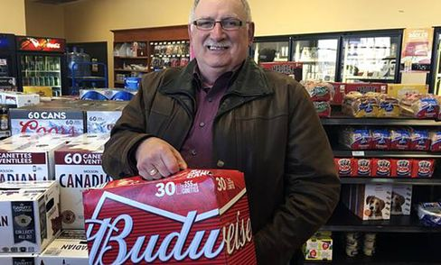Comeau buying beer in Quebec, on April 29.