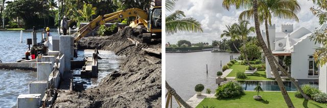 Seawall installation at property on the intracoastal in Palm Beach.