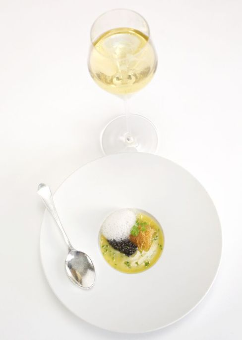 At Menton, an ultra-luxe take on New England fare: butter soup and Champagne.