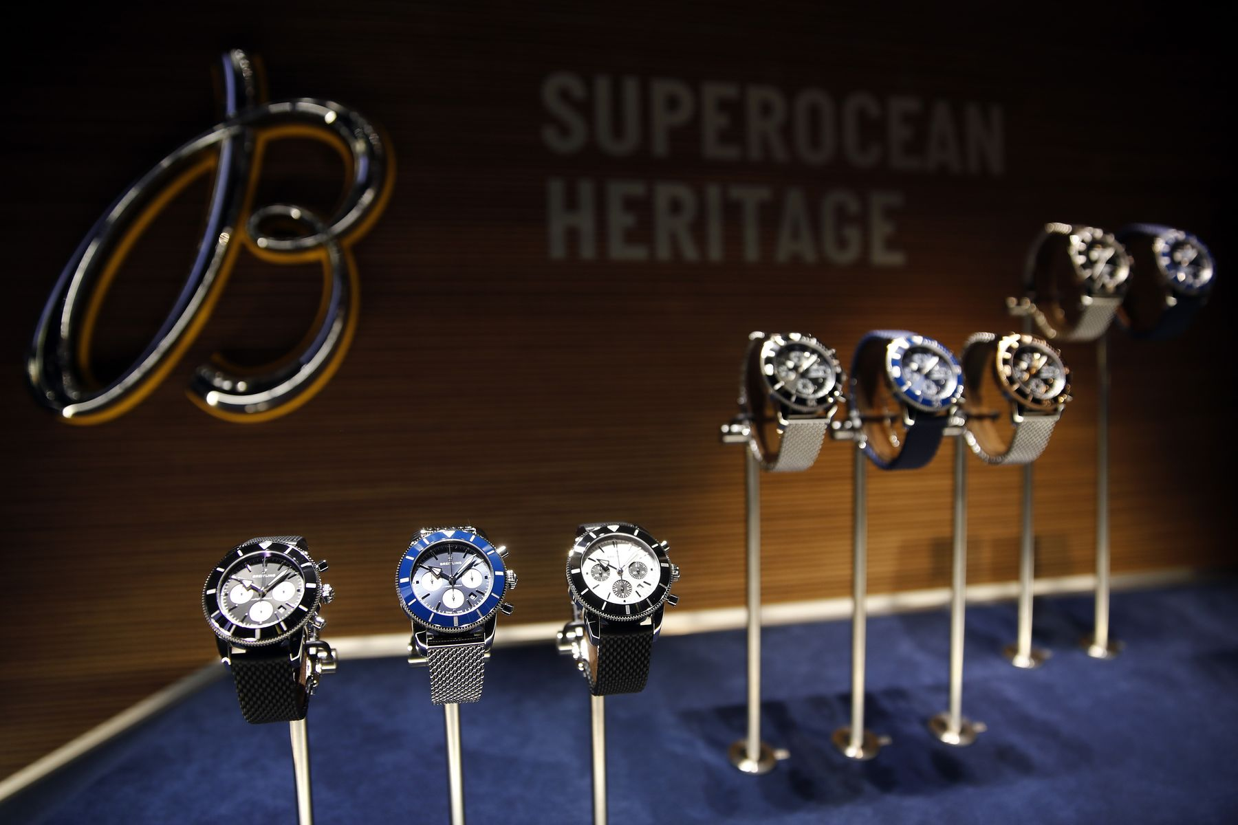 Wristwatches, produced by Breitling AG, stand on display during day two of the 2018 Baselword.