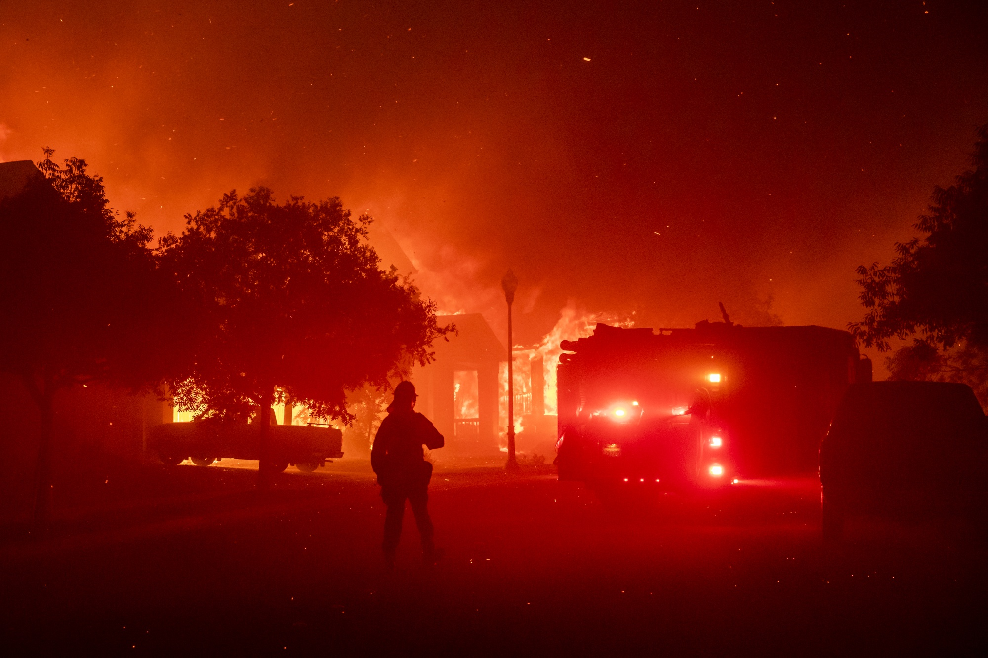 Firefighters Battle The Shady Fire In Sonoma County