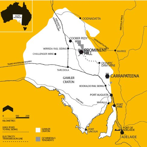 Map of Carrapateena Copper-Gold Project