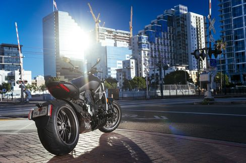 The XDiavel parked in San Diego.