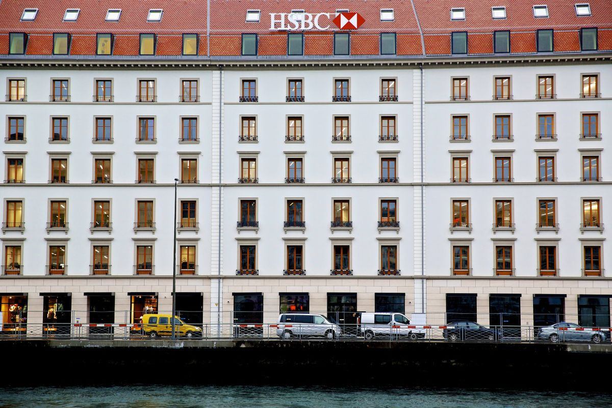 An HSBC logo sits on the building that houses HSBC Holdings Plc's private banking unit in Geneva.