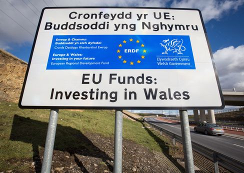 A typical European Union funding sign, found all over Wales.