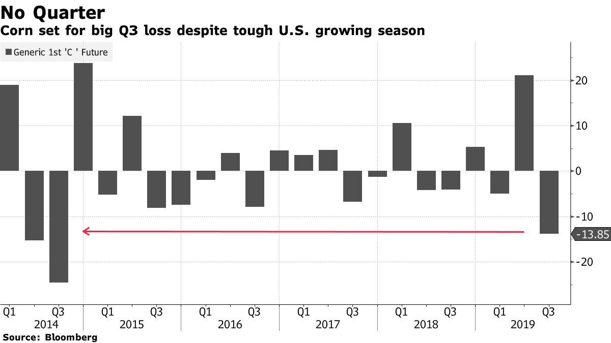Corn set for big Q3 loss despite tough U.S. growing season