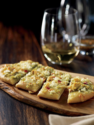 Flatbread and a glass of wine