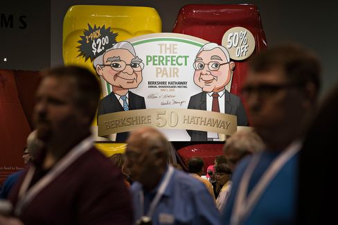 Caricatures of Warren Buffett, Berkshire Hathaway Inc. chairman and chief executive officer, and Charles Munger, vice chairman of Berkshire Hathaway Inc., appear on a sign advertising a special edition package of Heinz ketchup and mustard during the Berkshire Hathaway Inc. annual shareholders meeting in Omaha, Nebraska, on May 2, 2015.