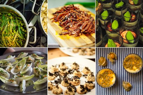 The dishes of Mazi Mas (clockwise from top left): Okra; tocino; avocado mousse; passion fruit; canapes; salad boats