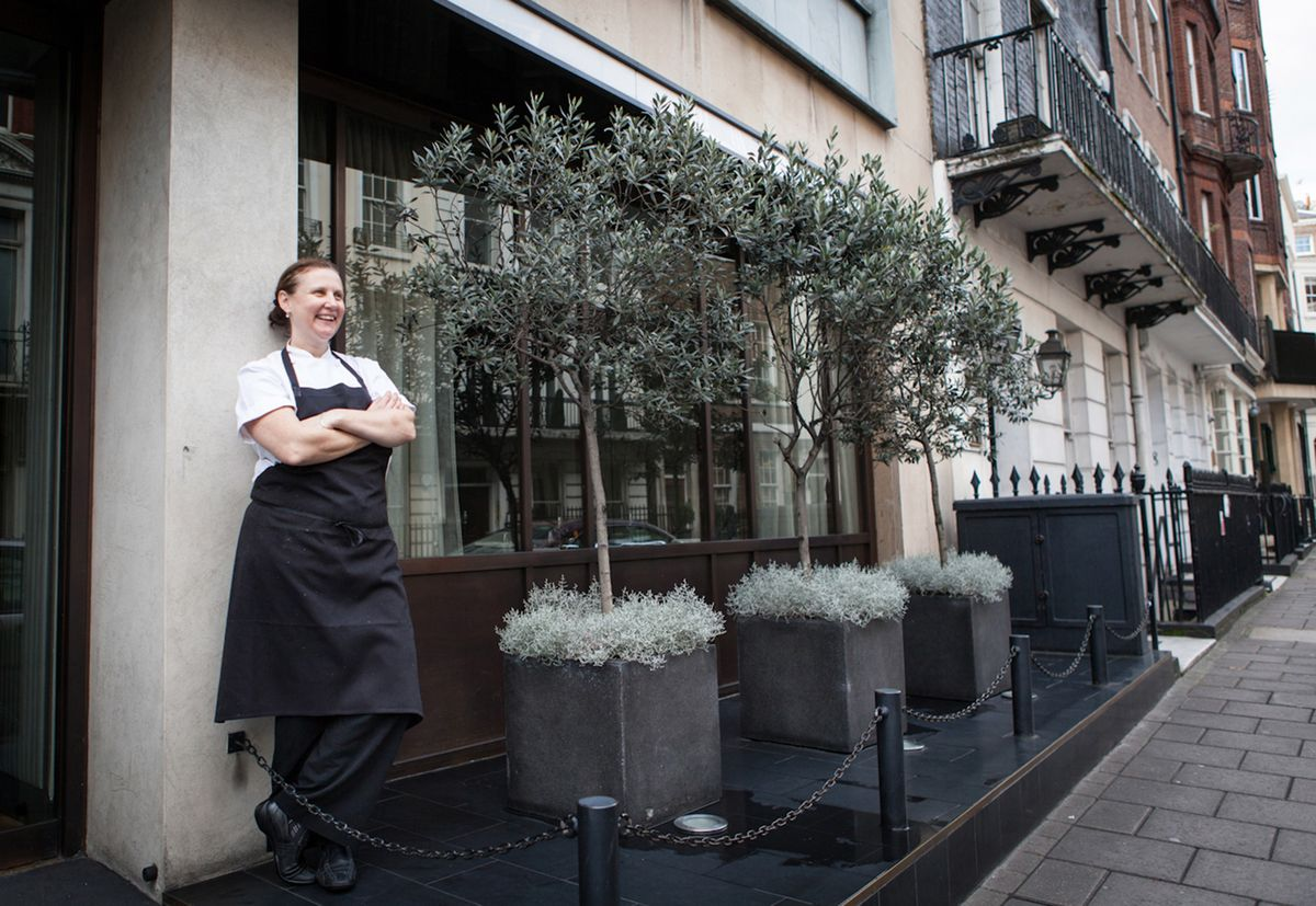 Angela Hartnett fuori Murano a Mayfair, Londra.