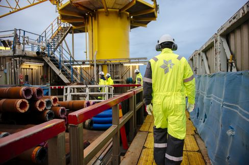 Employees Move Aboard a Statoil Offshore Gas Platform