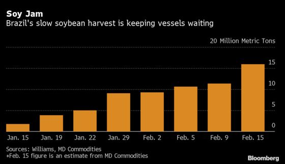 Brazil Soy Shipments Snagged by 18.6-Mile Traffic Jam in North