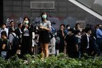 People gather during a protest in the Central district of Hong Kong, China, on Thursday, Nov. 14, 2019.