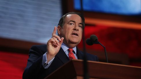 Mike Huckabee, former governor of Arkansas, speaks at the Republican National Convention (RNC) in Tampa, Florida, U.S., on Wednesday, Aug. 29, 2012.