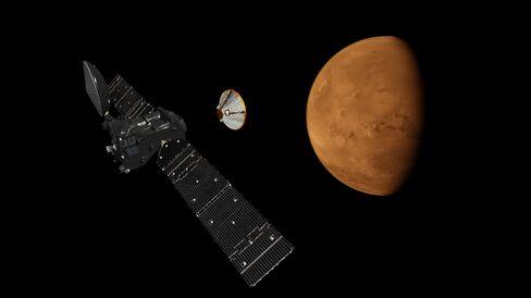 Illustration of ExoMars Schiaparelli Module and Trace Gas Orbiter