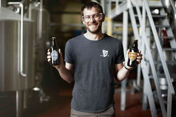 Peter Simpson, master brewer at Guinness, with the company's Dublin Porter and West Indies Porter.