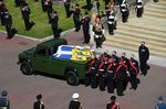 The coffin arrives at St George's Chapel during the ceremonial funeral procession of Prince Philip in Windsor Castle, on April 17.